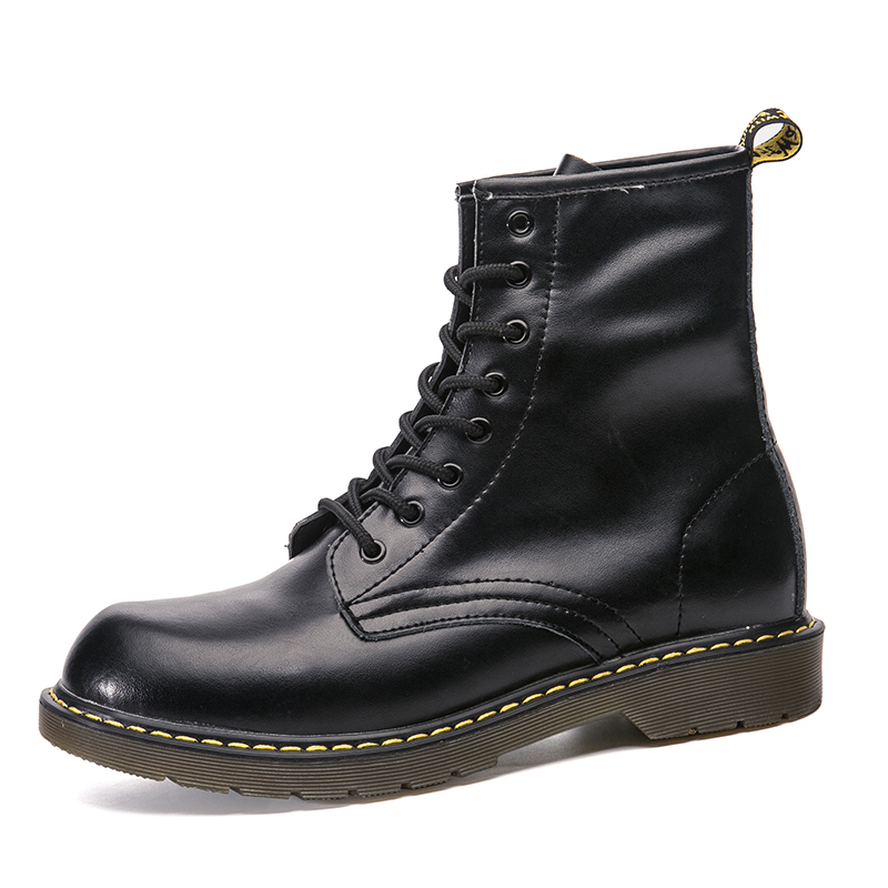 Women Boots Motorcycle-Shoes Lace-Up Ankle Warm Genuine-Leather Fashion Casual Winter