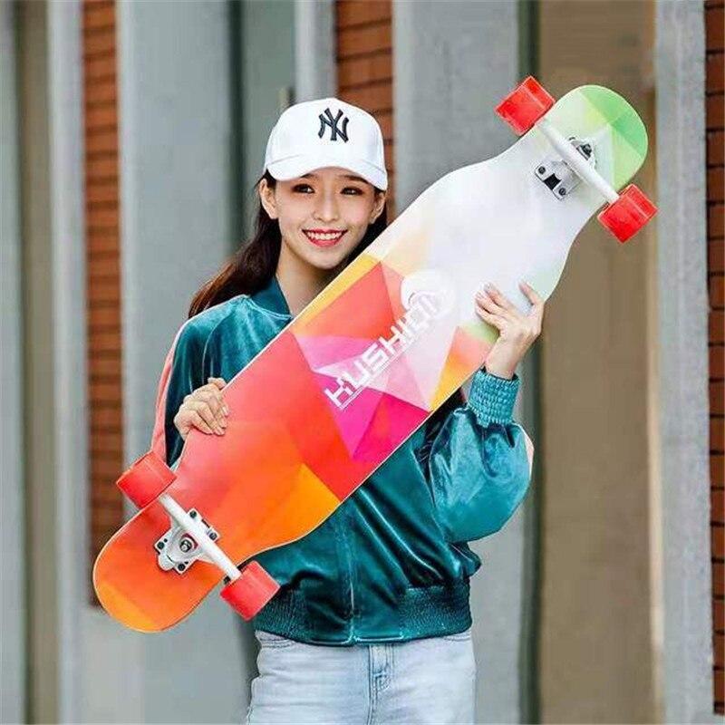 Brush Street Dancing Board 108CM Double Rocker Skateboard Longboard 80A PU 4 Wheels Skate Long Board Adults