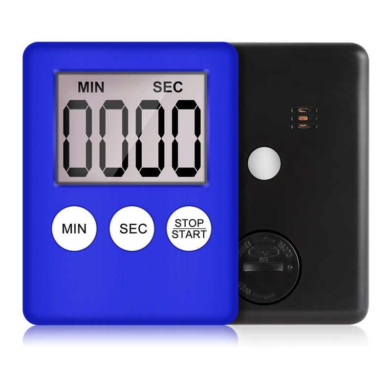 1pcs 8 Cores Super Fina Tela Digital LCD Kitchen Timer Contagem Cooking Up Contagem Regressiva Alarme Ímã Quadrado Relógio Temporizador