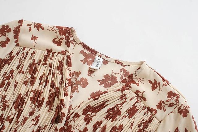 Toppies 2021 spring women dress long sleeve midi dress floral printing single breasted v-neck korean fashion clothings 5