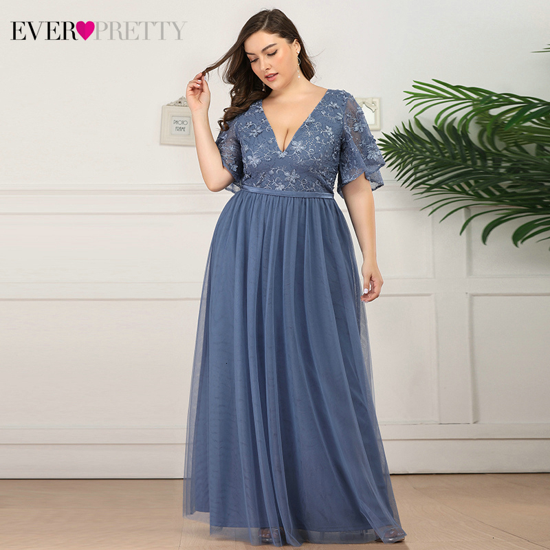Plus Size Floral Lace Prom Dress Ever Pretty A-Line Deep V-Neck Ruffles Sleeve Tulle Embroidery Long Party Gowns Gala Jurken