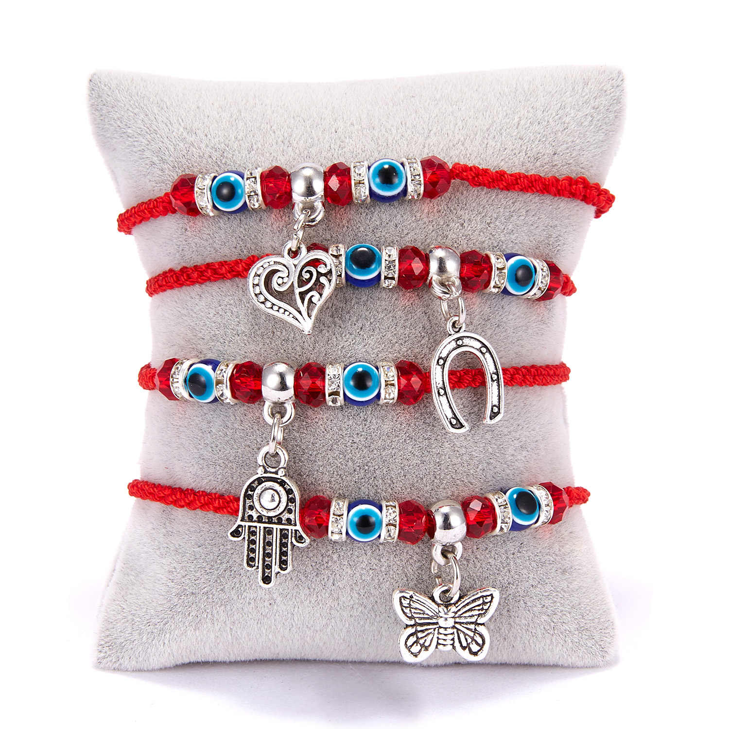 9Styles Braided Lucky Red String Hamsa Hand Charm Bracelet Blue Evil Eye Beads Bracelet Fashion Friendship Jewelry for Women Men