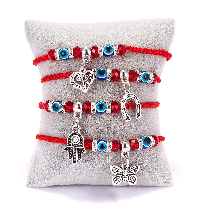 Hamsa Hand Charm Bracelet Blue Evil Eye