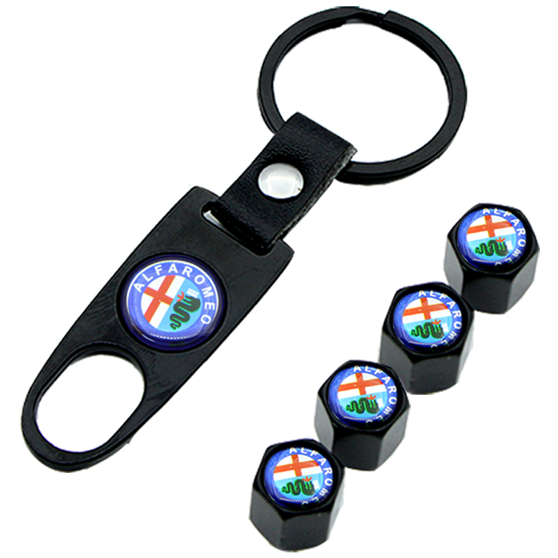 Auto Wheel Tire Air Valve Caps Case for Alfa Alpha Romeo Giulietta Car Logo Keychain Accessories Black Decorative Ornaments