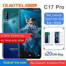"OUKITEL C17 Pro 6.35""19.5:9 Android 9.0 Mobile Phone MTK6763 Octa Core 4G RAM 64G ROM Rear Triple Cameras Dual 4G LTE Smartphone(China)"