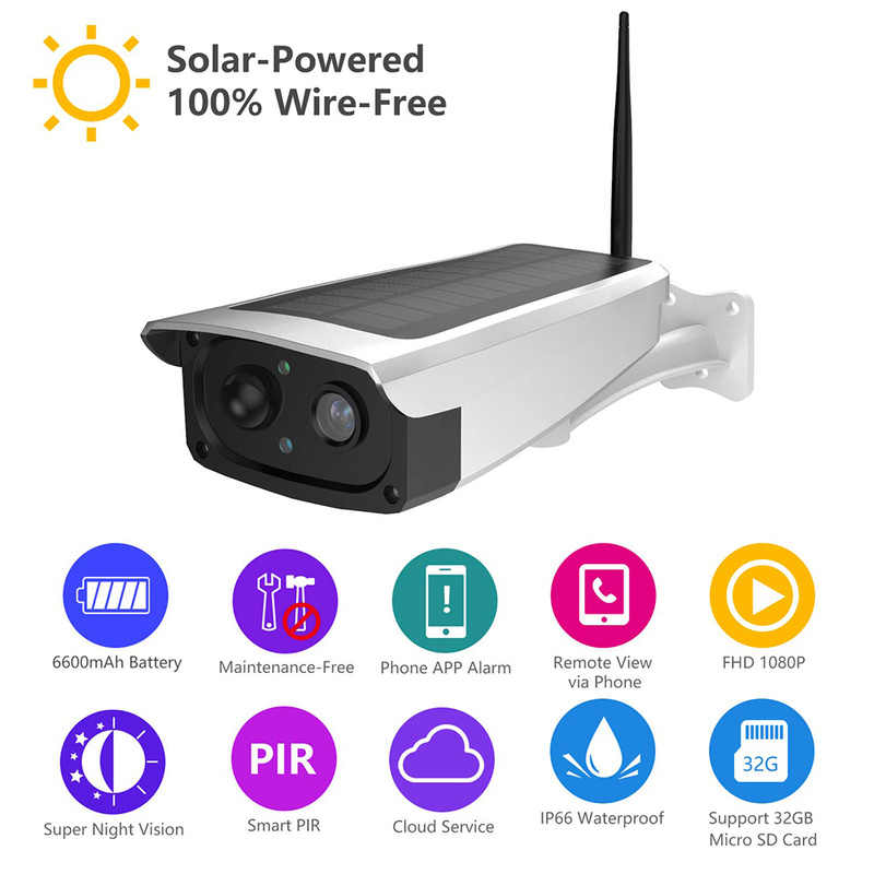 Outdoor Waterproof Security Solar Camera 1080P Wifi Wireless IP Camera Mobile Phone Remote Built-in 6600mAh Battery