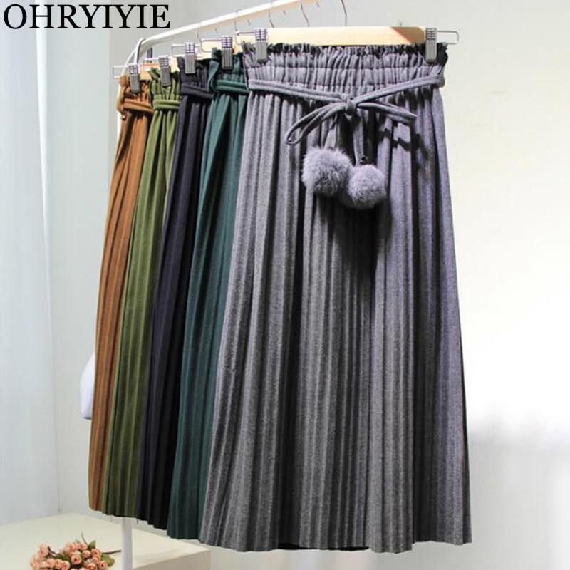 OHRYIYIE Autumn Winter High Waist Vintage All-match Velvet Skirt 2019 New Womens Midi Long Thick Pleated Skirts With Sashes Ball
