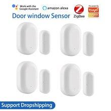 Zigbee janela sensor de porta detector vida inteligente tuya aplicativo casa inteligente sistema alarme segurança trabalho com alexa google assistente casa