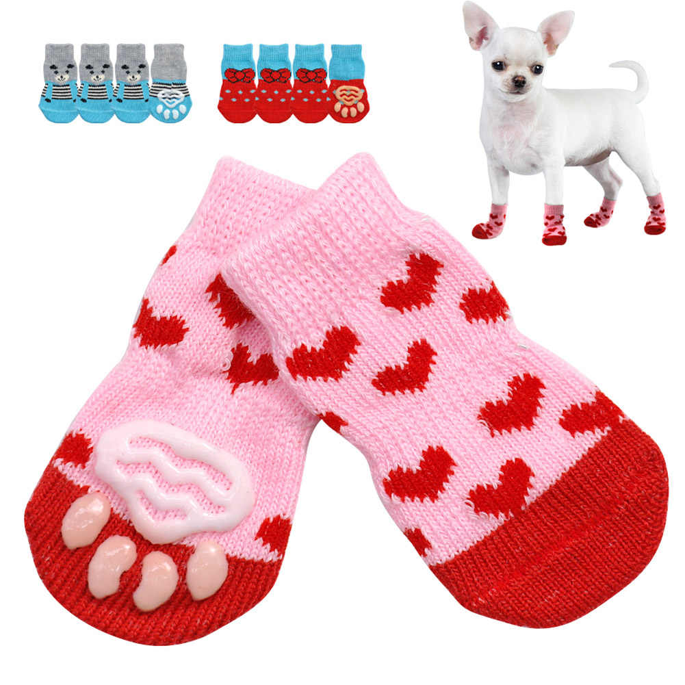 4 pçs/set Filhote de Cachorro Bonito Do Cão de Malha Meias de Algodão Anti-Slip Sapatos Gato Cães de Pequeno Porte Para O Outono Inverno Desgaste Interior Deslizar Sobre Protetor de Pata