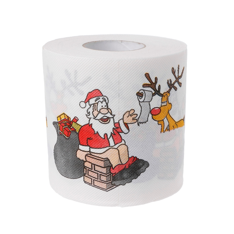 2 Layers Durable Printed Paper Christmas Santa Claus Deer Toilet Roll Paper Tissue Living Room Sanitary Paper Toilet Tissue