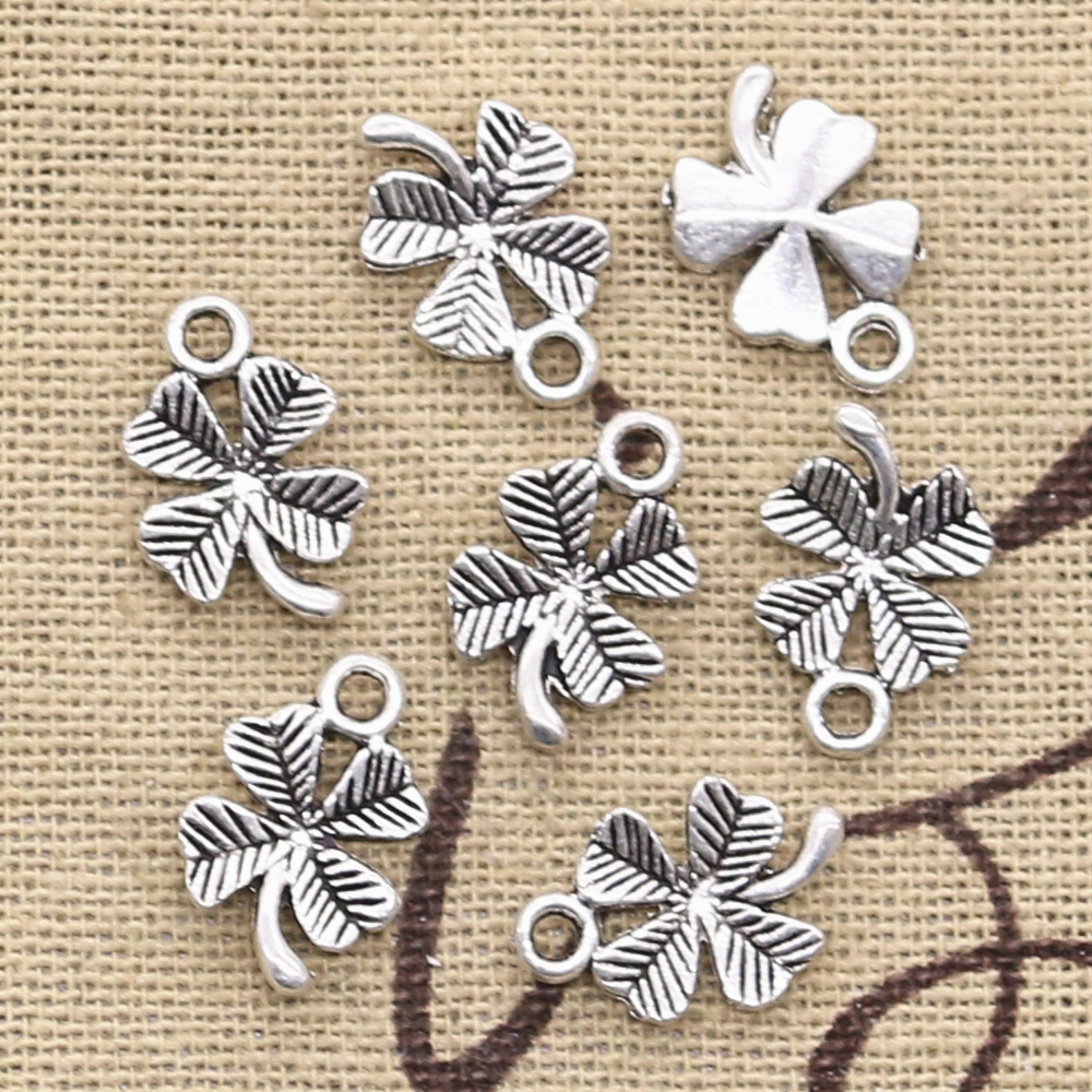 50pcs Charms Lucky Irish Four Leaf Clover 15x10mm Antique Silver Color Pendants DIY Making Findings Handmade Tibetan Jewelry(China)