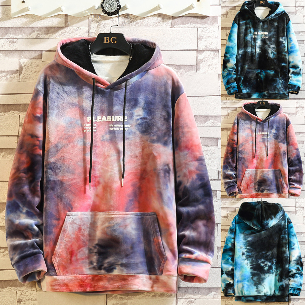 2019 Fashion Men Tie Dye Hooded Pocket Sweatshirt Male Baggy Pullover Tops Autumn Long Sleeve Loose Drawstring Jumper Hoodies