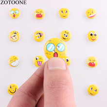 ZOTOONE 50PCS Natural Print Wooden Smile Cute Face Round Buttons Handmade Scrapbooking for Wedding DIY Craft Decoration Button E