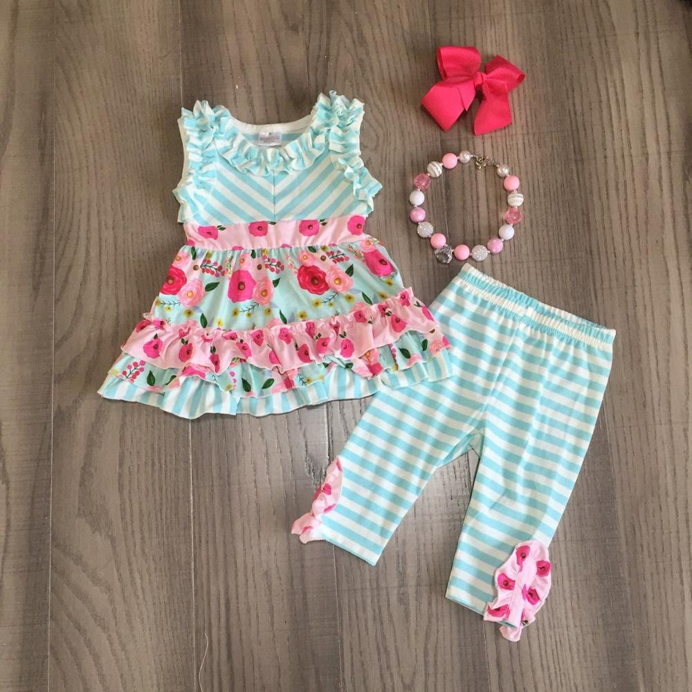 Baby Girl Girls Summer Outfits Girl Floral Top Stripe Pants Children Outfits With Accessories