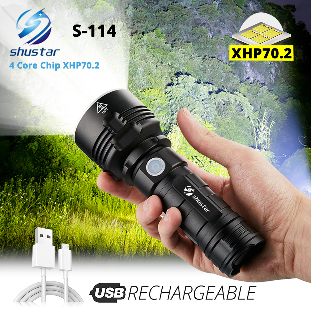 4 Core XHP70.2 LED Flashlight Waterproof Torch Tactical Camping Hunting Light 3 Lighting Modes Powered By 26650 Battery