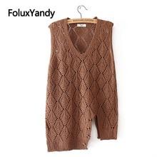 Asymmetrical Vest Women Sleeveless Hollow Out Loose Plus Size V-neck Knitted Casual Vests KKFY4368 asymmetrical plain v neck blouse