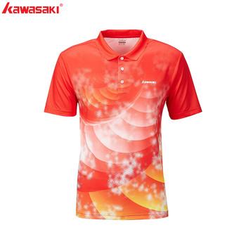 KAWASAKI marka oddychająca koszulka do badmintona męska koszulka z krótkim rękawem zielona czerwona koszulka szybkie suche koszulki do fitnessu ST-R1244 tanie i dobre opinie Skręcić w dół kołnierz Poliester Pasuje prawda na wymiar weź swój normalny rozmiar Oddychające Tennis Badminton Table Tennis