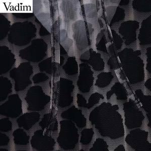 Image 3 - Vadim women two piece set leopard print dress see through long sleeve female elegant animal pattern dresses vestidos QC928