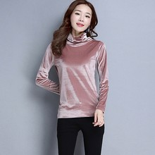 Fashion Women High Collar Top Pure Color Sweatshirt Long Sleeve Blouse  8.24