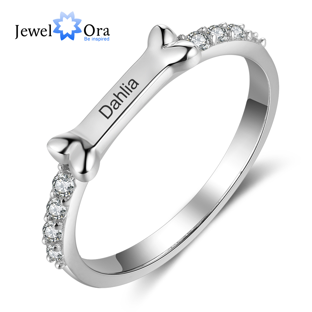 Personalized 925 Sterling Silver Engraved Rings For Women Paw Dog Bone Custom Name Silver Ring With Cubic Zirconia Fine Jewelry