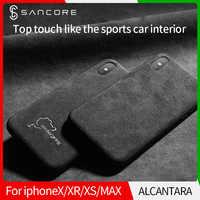Funda de teléfono SanCore para iPhone X XS XR Max LOGO personalizado Alcántara negocios TPU bolsa de teléfono de lujo teléfono móvil trasera cubierta de hombre