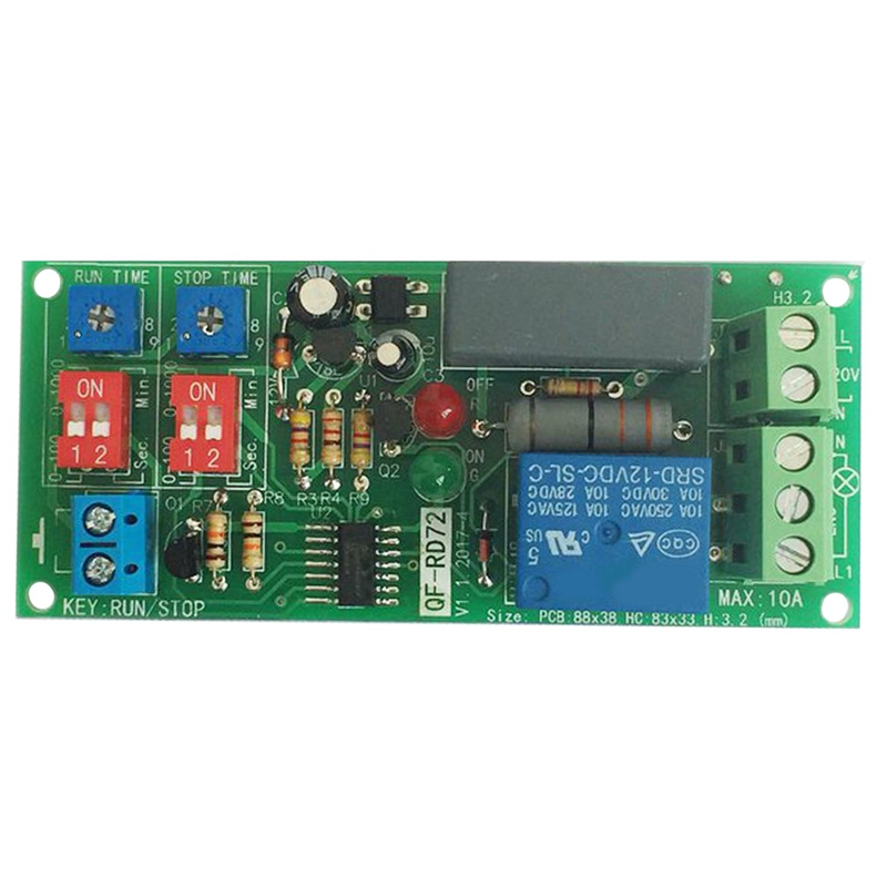 Dual Time Adjustable Cycle Delay Timing Relay Repeat on OFF Switch Infinite Loop Timer Module AC100-240V