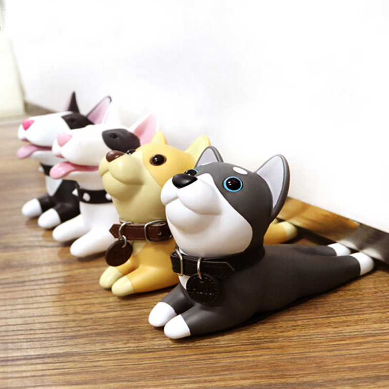 Cute Cartoon Dog Door Stopper Holder Bull Terrier PVC Baby Safety Protection Home Decoration Animal Figures Toys For Children