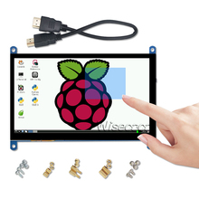 Wisecoco 7 inch Portable Monitor HDMI 1024x600 Capacitive Touch Screen LCD Display for PS4/Raspberry Pi 4 3B+/ PC/Banana Pi capacitive 7 1024 600 ips lcd touch monitor hdmi interface hdmi vga av display touch screen module for raspberry pi 3 banana