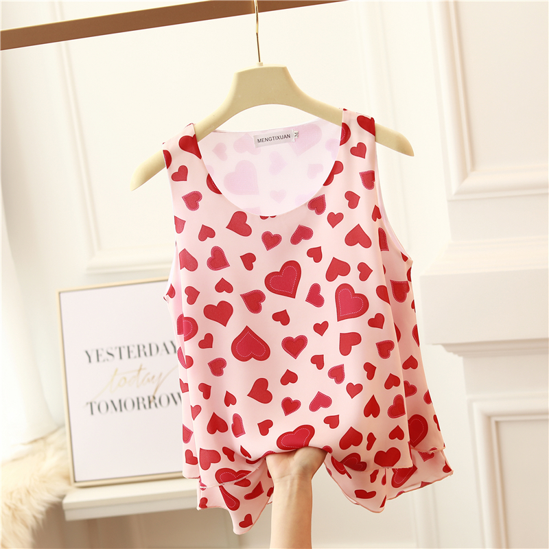 Women's Blouse Fashion Brand Summer New Arrival Top Size Printed Floral Sleeveless Chiffon Top Lady Bottoming Doll Shirt Blouse