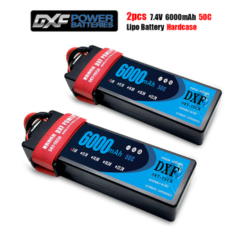 DXF Power 2PCS 7.4V 6000mAh 50C  Lipo Battery Pack, RC Battery Pack for RC Airplane Helicopter RC Car RC Truck