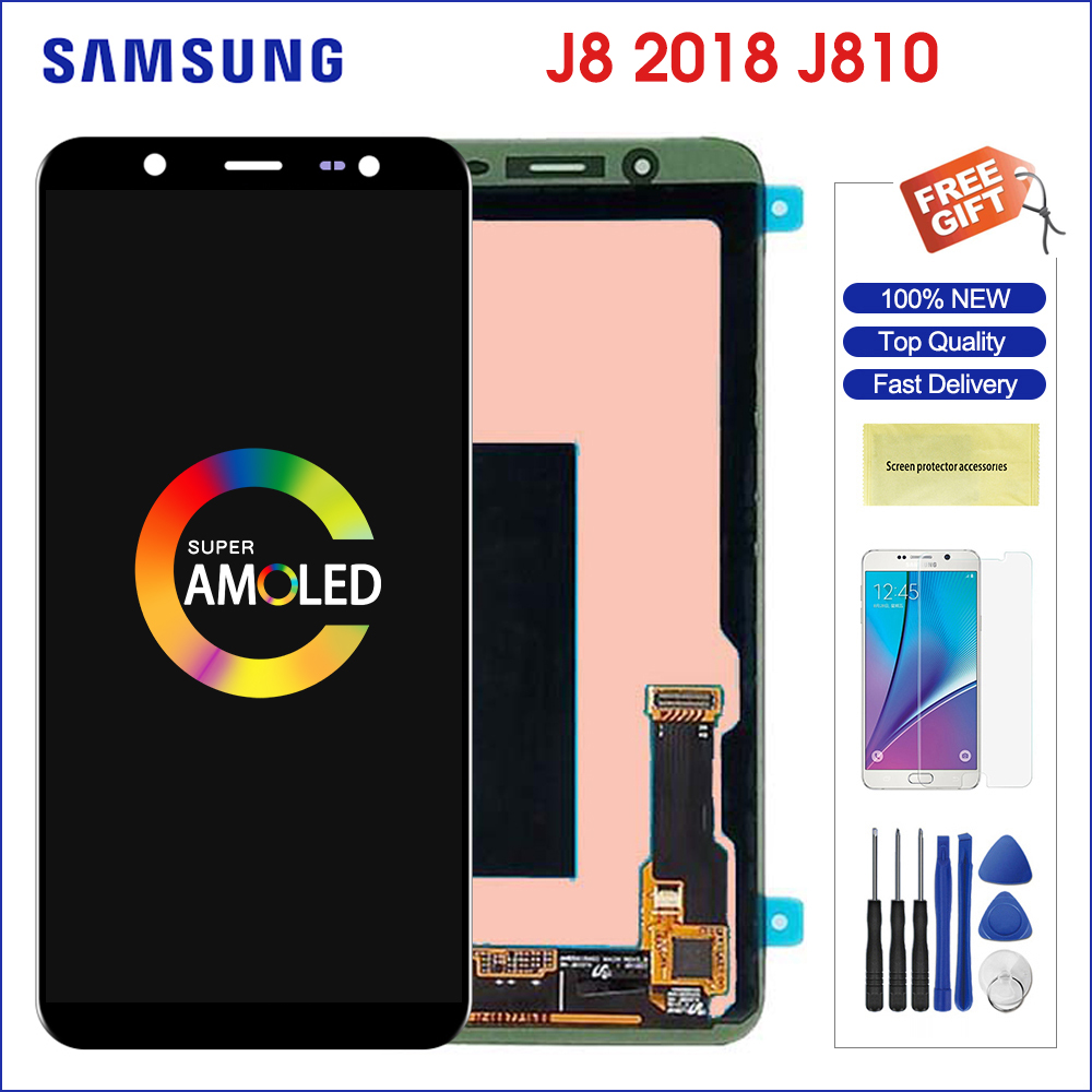 Original Super AMOLED Display For 6.0'' <font><b>Samsung</b></font> Galaxy <font><b>J8</b></font> <font><b>2018</b></font> <font><b>LCD</b></font> Display Screen+Touch Screen Panel Replacement For SM J810 <font><b>LCD</b></font> image