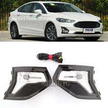 2X LED Fog//Driving Light Kit Cover /& Wiring Frame Harness For Ford Fusion 2019