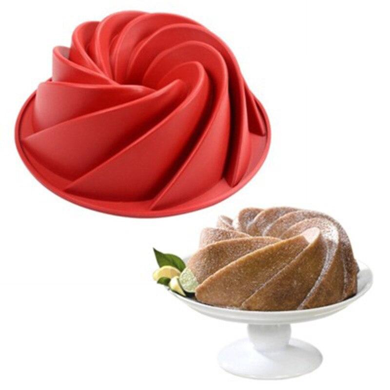 Teste padrão espiral de silicone bundt pan chiffon savarin bolo molde mousse brownie sobremesa decoração do bolo diy ferramentas de cozimento