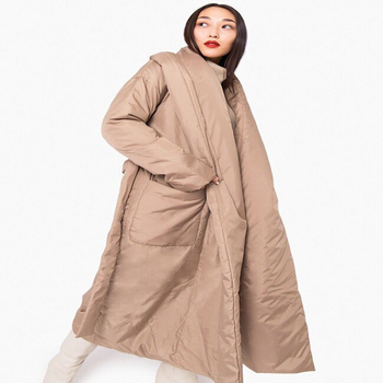 2019 Women new arrival Thick warm parka Long design Maxi cotton padded down coat robe design Casual Outerwear thumbnail