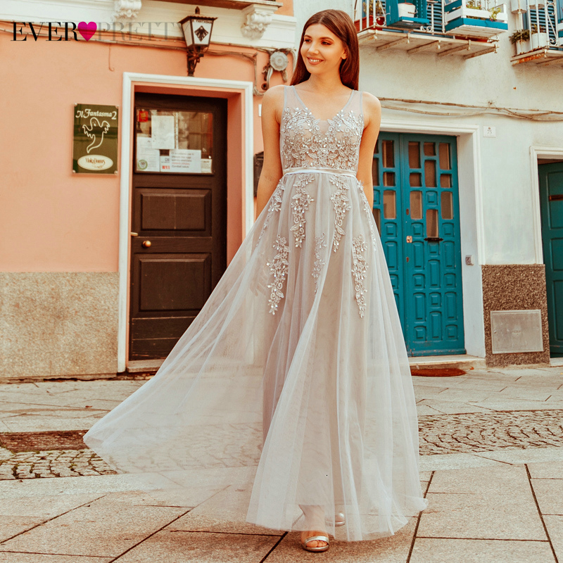 Elegant Appliques Evening Dresses Ever Pretty A-Line Double V-Neck Sleeveless Tulle Beach Style Party Gowns Robe De Soiree