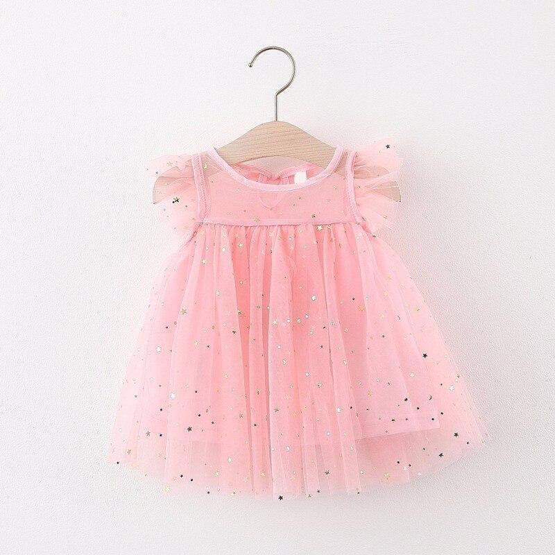 Vestido de encaje para bebés recién nacidos de 1 a 3 años, ropa de fiesta de boda, Manga mariposa, lentejuelas de verano