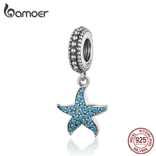 BAMOER Starfish Pendant Charm 925 Sterling Silver Sea Creature Ocean Charms for Bracelet S925 Fine Jewelry Making SCC1210