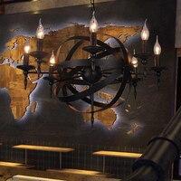 Lustre rústico retrô vintage para café  sala de jantar  quarto  e14  vela  preto  redondo  lustre em ferro forjado
