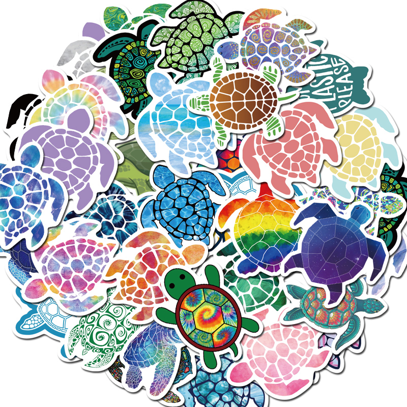 50 Pcs  Lovely Colorful Sea Turtle Little Turtle Stickers  For DIY Luggage Laptop Skateboard Car Motorcycle Bicycle Stickers
