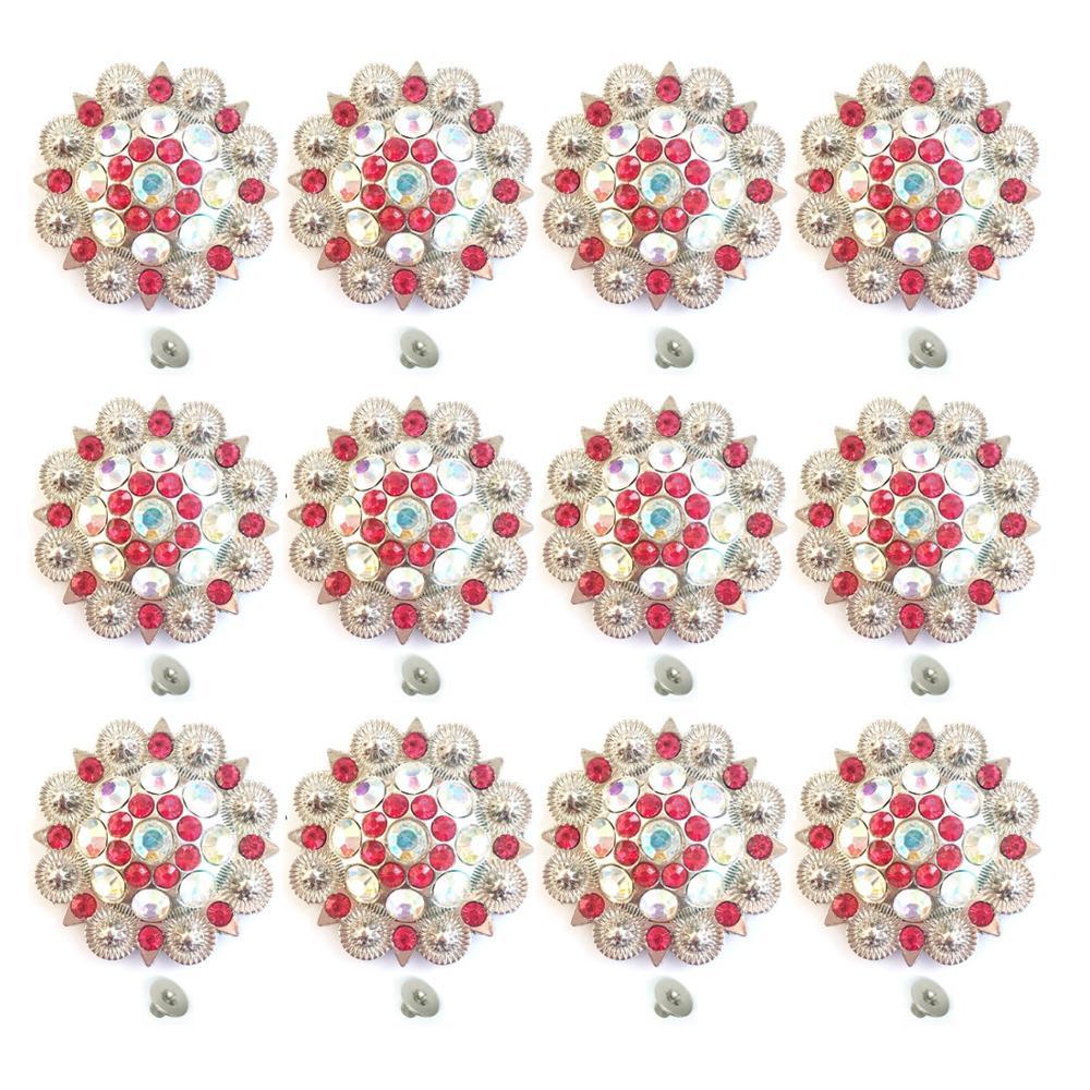 Red Color Diameter 3.7CM Metal Flower Conchos White Rhinestone Decoration Belt Accessories Accessories