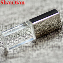 O usb de cristal varas 3d imprime o logotipo feito sob encomenda 4gb 16ggb usb flash pendrive 32gb 64gb vidro transparente (sobre 10 pces logotipo livre)