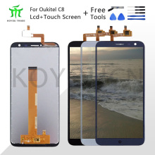 For 640*1280 Oukitel C8 LCD Display+Touch Screen Screen Digitizer Assembly Repair Parts+Tools +Adhesive LCD Glass Panel for C8 for oukitel k6000 plus lcd display touch screen digitizer for oukitel k6000 plus display screen lcd phone parts free tools