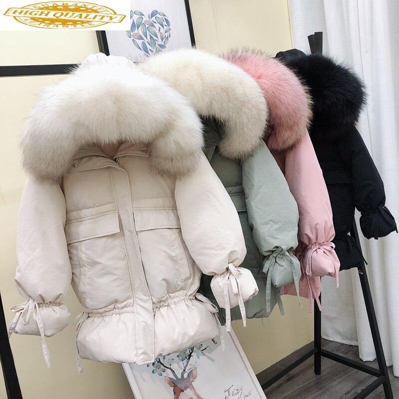 Winter Duck Down Jacket Woman Hooded Fox Fur Collar Warm Coat Korean Womens Jackets Plus Size Invierno Mujer 2020 KJ2554