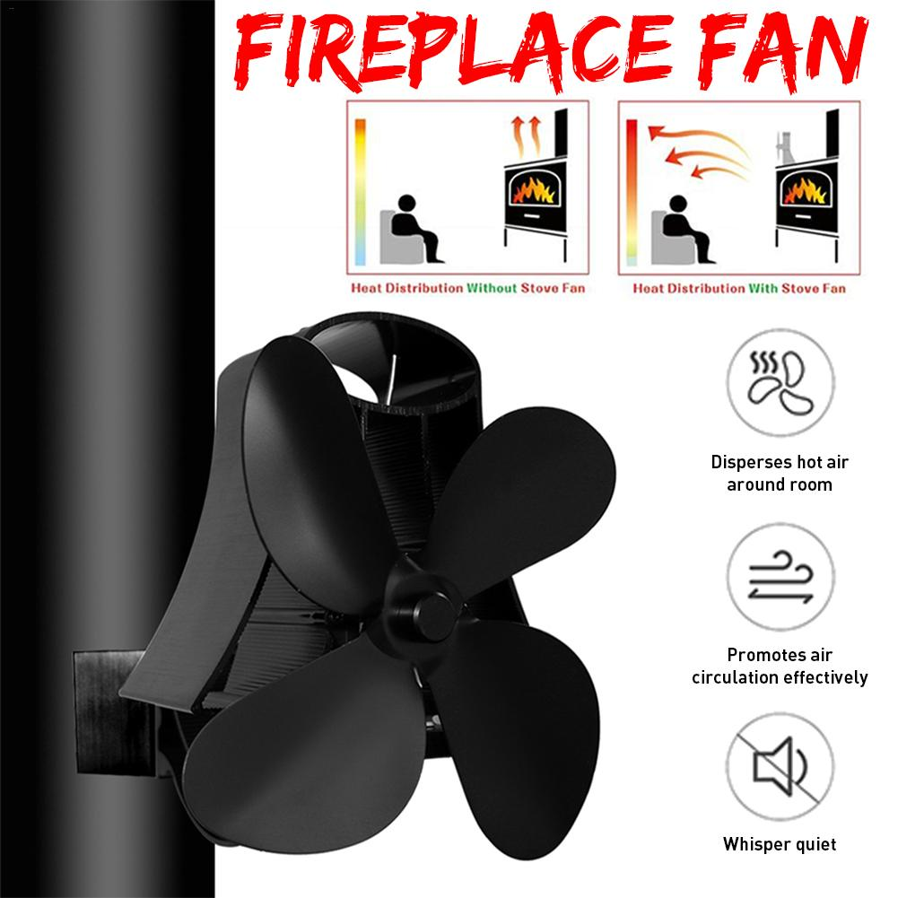 4 Blade Heat Powered Stove Fan Log Wood Burner Eco Kindly Quiet Home Wall Hanging Fireplace Fan Heat Distribution Fuel Saving