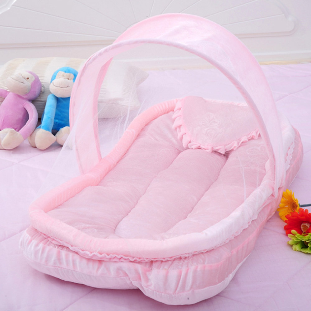 Newest Foldable New Baby Crib 0-3 Years Baby Bed With Pillow Mat Set Portable Folding Crib With Netting Newborn Sleep Travel Bed