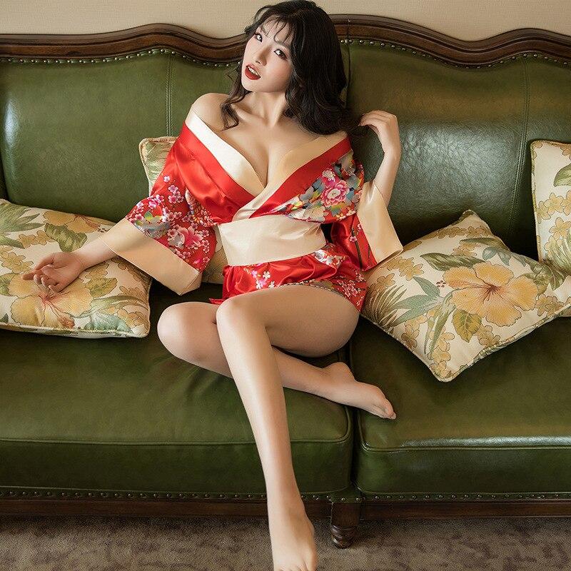 Hot Sexy Lingerie Satin Lace Black Red Deep V Neck Kimono Intimate Sleepwear Robe Sexy Night Gown Women Erotic Underwear