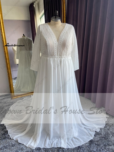 Vestidos Boho Bridal Long Sleeve Wedding Dresses A Line 2021 Robe Longue Simple Beach Chiffon Long Wedding Gowns Deep V-neck 4
