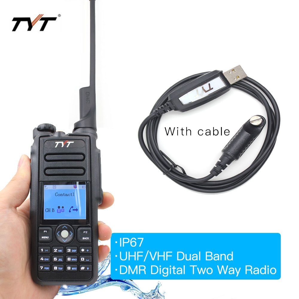 TYT MD-2017 IP67 Walkie Talkie DMR Digital Radio Dual Band 144/430MHz UV Transceiver MD2017 + USB Cable