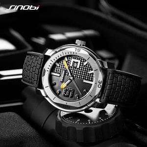 Image 3 - SINOBI High Quality Stainless Steel Mens Watches Hour Military Soft Silicone Strap Calendar Sport Waterproof Wrist Watch reloj