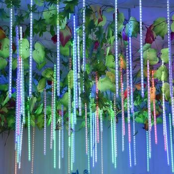 50CM 30CM Meteor Shower Rain Tubes Led Light String Christmas Garland Garden Outdoor Waterproof For Fairy Tale Wedding Decoratio 30cm 10 tubes waterproof meteor shower rain tubes rgb 360 led light lamp solar power christmas light wedding garden decoration